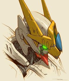 """Continuing the Gundam series here is the Barbatos! Took a few liberties with the design, just having fun! Any Gundams or Mobile Suits people wanna seeee? Arte Gundam, Gundam Art, Gundam Head, Gundam Wing, Concept Art World, Robot Concept Art, Trevino Art, Barbatos Lupus Rex, Arte Steampunk"