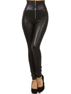 3023fc75d7a Zipper Black Tight Women Leggins High Waisted Leather Leggings