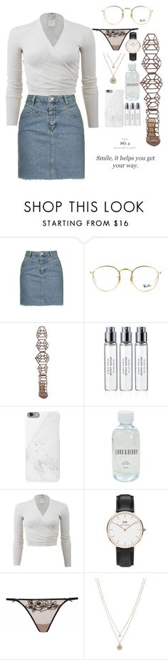 """""""15:53"""" by wmnr ❤ liked on Polyvore featuring Topshop, Ray-Ban, Schutz, Byredo, Native Union, Lord & Berry, FUZZI, Daniel Wellington, Agent Provocateur and LC Lauren Conrad"""