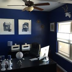 @seanscott2323's office is sophisticated in sapphire. Features our Blue Eminence 1 & 3 prints and our Miami Vases.