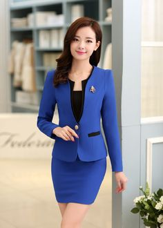 Plus Size Candy Color Skirt Suits Summer Style 2016 Women Business Suits Formal Office Suits Work Elegant Blazer Feminino Suits For Women, Jackets For Women, Clothes For Women, Women Wear, Ladies Suits, Office Outfits, Office Uniform, Office Attire, Classy Dress