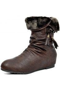 DREAM PAIRS KOLAR New Women's Fashion Casual Faux Fur Cuff Hidden Wedge Heel Winter Lady Boots Booties