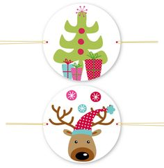 """FREE printable reindeer and Christmas tree tags (just click on """"ici"""" to download)"""