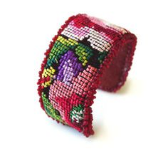 Beaded Needlepoint cuff by Vida Dulce $23 ~ Could also use 10 mesh Plastic Canvas?~ Craft Idea