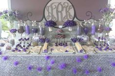 Purple sweets and treats table for bridal shower idea www.MadamPaloozaEmporium.com www.facebook.com/MadamPalooza