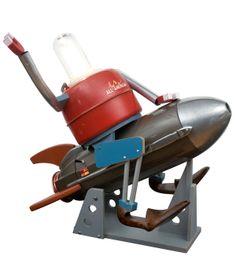 $1800 ROCKETSHIP ROBOT - ILLUMINATED SCULPTURE | Retro Robot Rocketship Sculpture | UncommonGoods