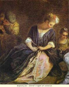 Jean-Antoine Watteau. Récréation Italienne. Detail. c.1715. Oil on canvas. Staatliche Museen, Schloss Charlottenburg, Berlin, Germany.