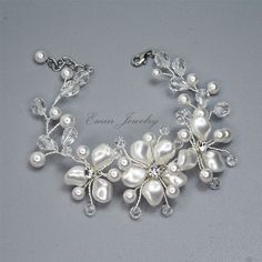 Pun o de lujo Swarovski blanco perlas cristal por adriajewelry