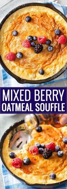 Mixed Berry Baked Oatmeal Souffle   Soft, fluffy oatmeal is folded with whipped egg whites and swirled with mixed berries, then baked until puffed and golden!   http://thechunkychef.com