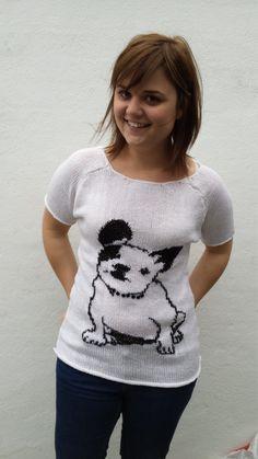 White knit t-shirt with bulldog, OOAK, bulldog shirt, bulldog sweater, dog…