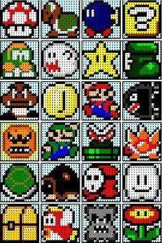 The Recipe Bunny: Super Mario Quilt, this girl has a few different blocks that would go well with the super mario 1 quilt. Pearler Bead Patterns, Perler Patterns, Loom Patterns, Beading Patterns, Quilt Patterns, Bracelet Patterns, Knitting Patterns, Crochet Patterns, Cross Stitching