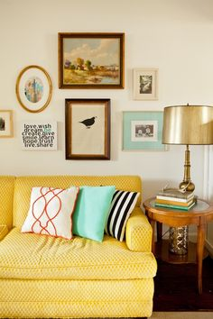 objects living co._interior design_fort worth_misty spencer_vintage_living room_redesign_yellow sofa_gallery wall_vintage lamp