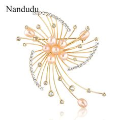 Nandudu Fireworks Design Button Shaped Imitation Pearl Tiny Austrian Crystal Gold Color Flower Scarf Pins Brooches Jewelry X260 #Affiliate