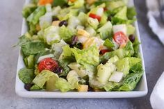 {This is a delectable salad! This salad is time consuming to chop everything up.The vinaigrette is not my favorite. I would suggest making the dressing more creamy, with mayo or avocado.} Mexican Chopped Salad with Cilantro Lime Vinaigrette Mexican Chopped Salad, Mexican Salads, Mexican Food Recipes, Ethnic Recipes, Chopped Salads, Cilantro Lime Vinaigrette, Paleo, Clean Eating, Cinco De Mayo