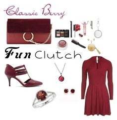 """""""Classic Berry Fun Clutch"""" by canoe-communicationsblog ❤ liked on Polyvore featuring Chloé, Miss Selfridge, rms beauty, The Macbeth Collection, NARS Cosmetics, Sole Society, Topshop, Blue Nile and Puck Wanderlust"""