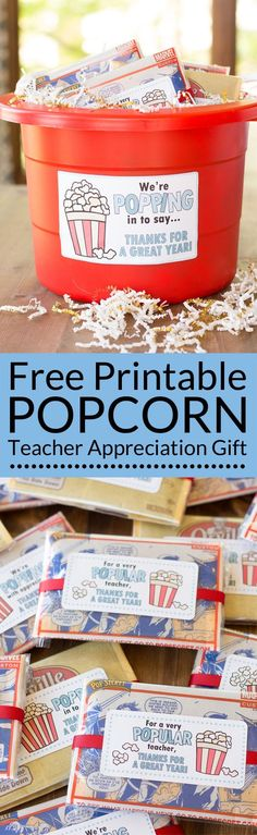 The end of school year is approaching! Tell your teacher thank you with this easy teacher appreciation gift and free printable gift tag featuring a fun popcorn puns: for a very popular teacher, we're popping with appreciation, and popped in to say thanks. Great idea for teacher appreciation week or end of year teacher gifts. DIY Teacher Gifts, Simple Teacher Appreciation Gift, Teacher Appreciation Gift Ideas. #teachergift