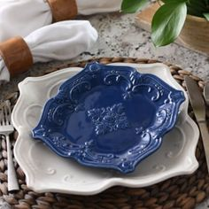 This ceramic blue salad plate has a contoured shape and vine design. Perfect for your dining table or kitchen nook. Microwave and dishwasher safe dinnerware. Kitchen Nook, Kitchen Dining, Olives, Blue And White Dinnerware, Olive Salad, Vine Design, Kitchen Canisters, Dining Decor, Blue China