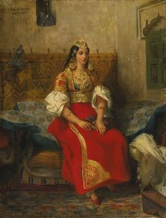 1835 Eugène Delacroix 'Jewish Tangier apartment in a suit' in 1832 visited Morocco, works with the motif of Jewish women of Tangier.