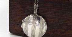 Silver Art Deco Locket Necklace | Antique Round Photo Locket On A Chain | Engine Turned Locket  https://www.pinterest.com/pin/269441990187750795/