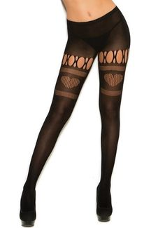 Black Heart Pantyhose Stockings Women Cut Out Fishnet Sheer Strappy Lingerie…
