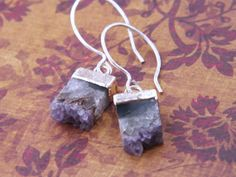 Amethyst slice earrings, raw amethyst, February birthstone earrings, silver electroplated amethyst