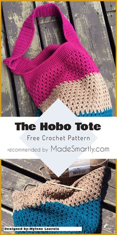 The Hobo Tote - Free Crochet Pattern #crochetpattern #crochetbag #freecrochetpatterns #totebag