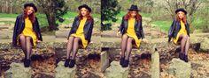 redheadedrogue, fashion blogger, fashion, nature, spring, yellow, leather jacket
