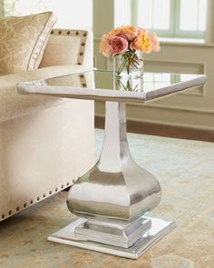 """Gabriella"" Side Table at Horchow. Gleaming side table has a nickel-plated body and mirrored top.  Handcrafted. 22""Sq. x 26""T."