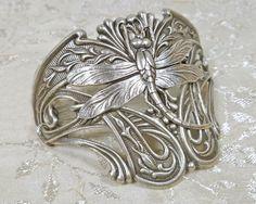 Art Nouveau Jewelry Dragonfly Large Half Cuff Bracelet. $28.00, via Etsy.