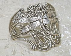 Art Nouveau Jewelry Dragonfly Large Half Cuff Bracelet. $28.00, via Etsy.