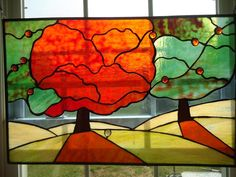 """Abstract Stained Glass Window Suncatcher Panel Modern Valance Curtain 27""""x 17 5"""
