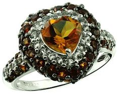 2.78 Carats Citrine with Madeira Citrine and White Topaz Silver Ring available at joyfulcrown.com
