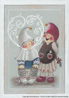 "From the ""Material Master"" series of Christmas cards -- by Kaarina Toivanen, Finnish Swedish Christmas, Christmas Gnome, Scandinavian Christmas, Kids Christmas, Vintage Christmas, Christmas Crafts, Xmas, Christmas Clipart, Christmas Greetings"