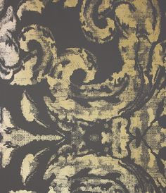 gossamer wallpaper a large scale contemporary damask design in gold on black that will make - Contemporary Damask Wallpaper