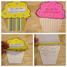 Cupcake Mother's Day Craft: You are the SWEETEST mom! Life the cupcake and read the card!