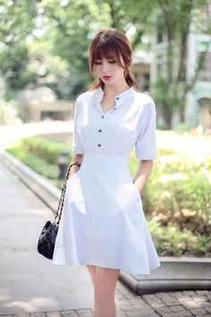 Japanese fashion striped short-sleeved dress