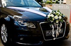 White Theme Wedding Car Decor Front View