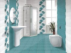 Fantasy Bathroom Toilets, Bathroom Kids, Bathroom Colors, Small Shower Room, Small Showers, Coastal Bathrooms, Dream Bathrooms, Colorful Interior Design, Colorful Interiors