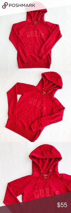 GUESS Women's Red on Red Logo Hoodie Sweatshirt GUESS women's medium red pullover hoodie in excellent preowned condition! Red on red patched logo ❣️🔥 Guess Tops Sweatshirts & Hoodies