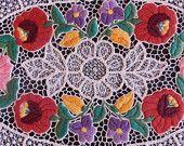 Embroidery tablecloth antiqe Hungarian Kalocsa