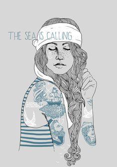 """Weiteres - A3 Poster """"the sea is calling """" - ein Designerstück von Hellicopter bei DaWanda"""