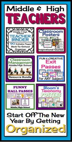 Start your year off organized and ready with this middle high back-to-school bundle of resources Teachers Pay Teachers BEST SELLER! Feedback: This may be the best purchase I have made in 20 years of teaching!