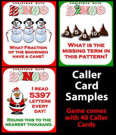 Christmas Math Bingo - features a Computer Bingo Caller option to make your classroom more interactive. Use this to draw random question cards and to display called answers while the class follows along with their own printed bingo cards. Cost is two fifty. Try the FREE DEMO from TpT.