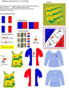 Dolls House Scale Printable Miniature Parisian Souvenirs: Dollhouse Flags, Postcards, Scarves and T Shirts With a Parisian Theme