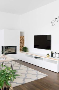 Ikea Besta TV Board in the living room - Wohnzimmer ♡ Wohnklamotte - Ikea Tv, Ikea Living Room, Tv Furniture, Green Plants, Home Furnishings, Family Room, Sweet Home, New Homes, Interior Design