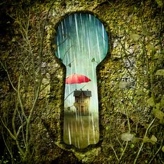 Marge Nelk's beautiful, whimsical art looking through a keyhole