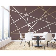 """Horatio 'L x 118 """"W Fototapete / wandfarbe muster Horatio 'L x 118 """"W Fototapete - Tiny Haus Familie Idee Bedroom Wall Designs, Accent Wall Bedroom, Bedroom Decor, Wall Decor, Bedroom Sets, Master Bedroom, Geometric Wall Paint, Modern Wall Paint, Room Wall Painting"""