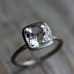 White Topaz Cushion Solitaire in 14k Palladium by onegarnetgirl, $748.00    love this <3