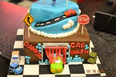 car wash cake inspiration.  will probably use match box cars