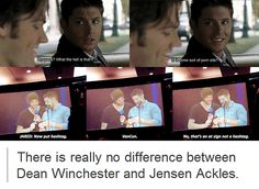I love how the attention is on Jensen but Jared is the same. Sam & Jared both have excessive amounts of knowledge on technology and it makes me laugh.<<< THIS IS AMAZING! Sam Y Dean Winchester, Sam Dean, Sammy Supernatural, Impala 67, Geek Out, Super Natural, Hilarious, Funny, Jensen Ackles